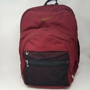Nike Backpack Red Mesh Pocket Multi Zipper Large Book Bag Storage ...