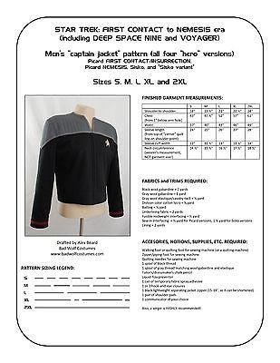 Star Trek Sewing Pattern - Starfleet uniform jacket - DS9, Nemesis (men's)