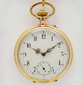 fruehe-IWC-Lepine-Taschenuhr-in-14ct-Rotgold-Alter-1890-1895-Pallweber-sig
