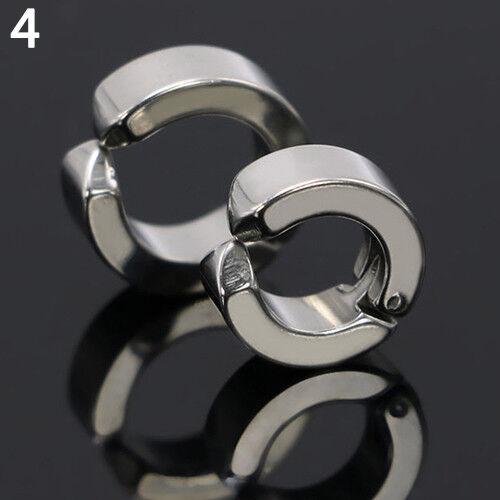 UK/_ LK/_ Men Ear Clip Titanium Steel Earrings U Shaped Ear Studs Jewelry Gift Con