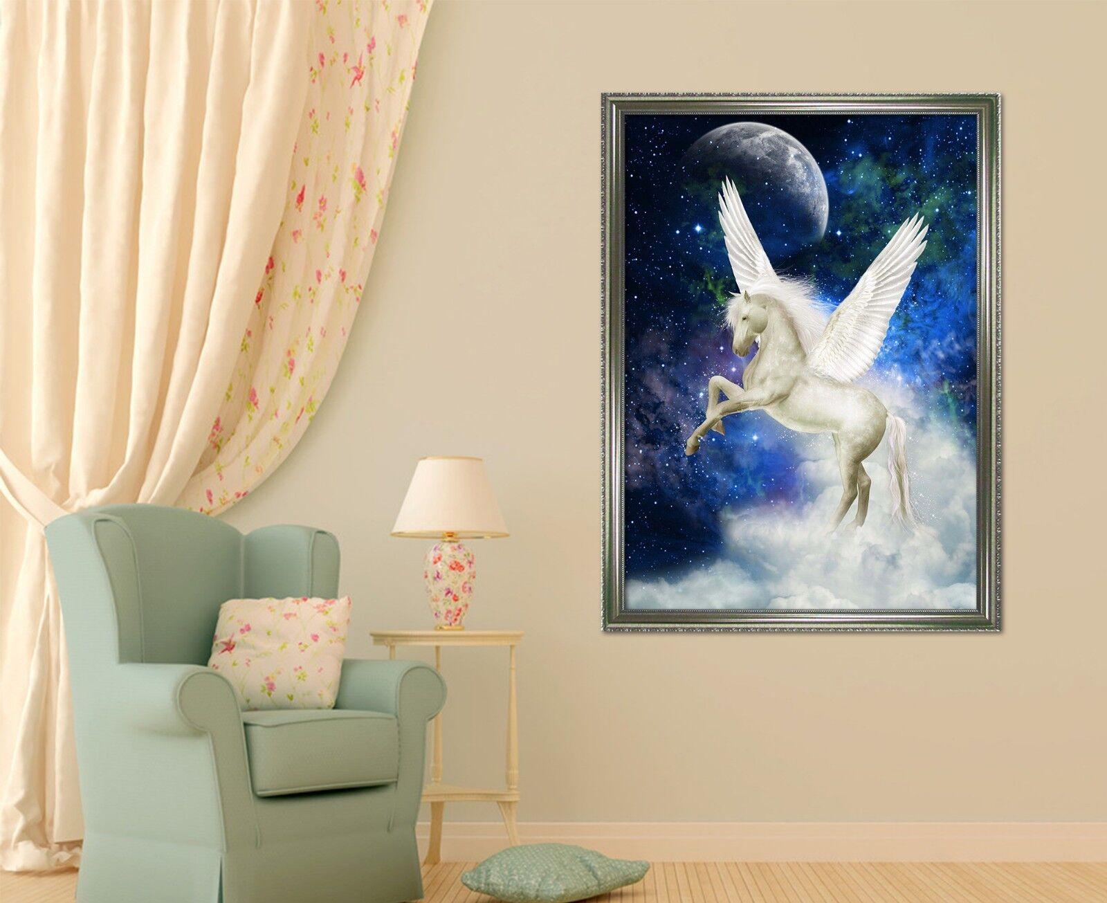 3D cielo estrellado Pegasus 2 Póster Enmarcado Decoración del Hogar Pintura de Impresión Arte AJ Wallpaper