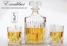 NEW Italian Made Circleware Excalibur 5pc Whiskey Decanter Set FREE SHIPPING