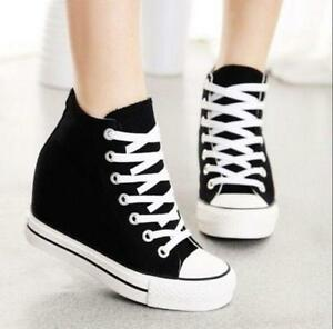Womens-Trainers-Canvas-Hidden-Wedge-High-Top-Lace-Up-Sneakers-Casual-Comfy-Shoes