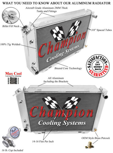 "1980 81 82 83 84 85 86 87 1988 Ford Thunderbird 2 Row 1/"" Eagle Champion Radiator"