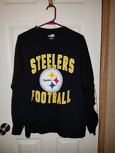 sale retailer 91cf5 b1913 Details about NFL Team Apparel Pittsburgh Steelers Football Long Sleeve  T-Shirt Black Size M