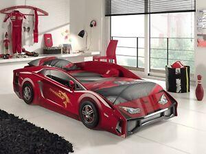 Details zu Autobett Jugendbett Auto Kinderbett 90x200 Carbett rot Lambo