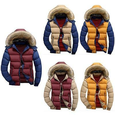 Men's Fur Collar Hooded Parka Winter Thicken Down Coat Outwear Jacket Fashion