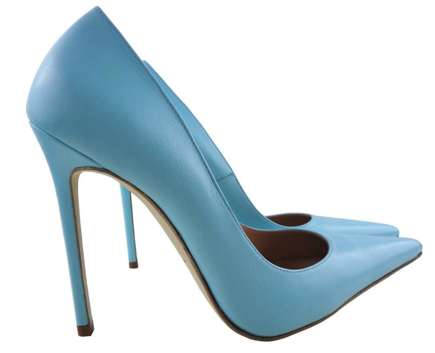 CQ COUTURE ITALY HIGH HEELS POINTY PUMPS SCHUHE DECOLTE LEATHER SKY blueE blue 45