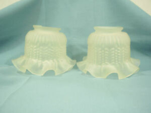 Pair-of-vintage-fluted-frosted-glass-shades-for-hanging-light-fixture