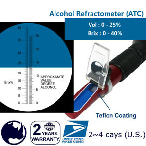Alcohol-0-25-Vol-amp-0-40-Brix-Rhino-Refractometer-HR503-ATC-Testing-with-Wine