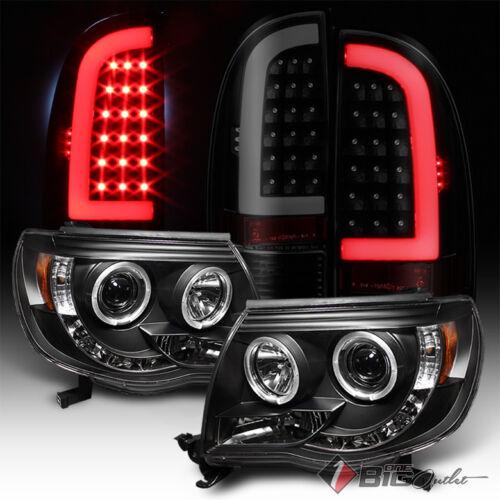 Blk Smoke Optic-Tube LED Tail Lights For 05-11 Tacoma Blk Halo Pro Headlights