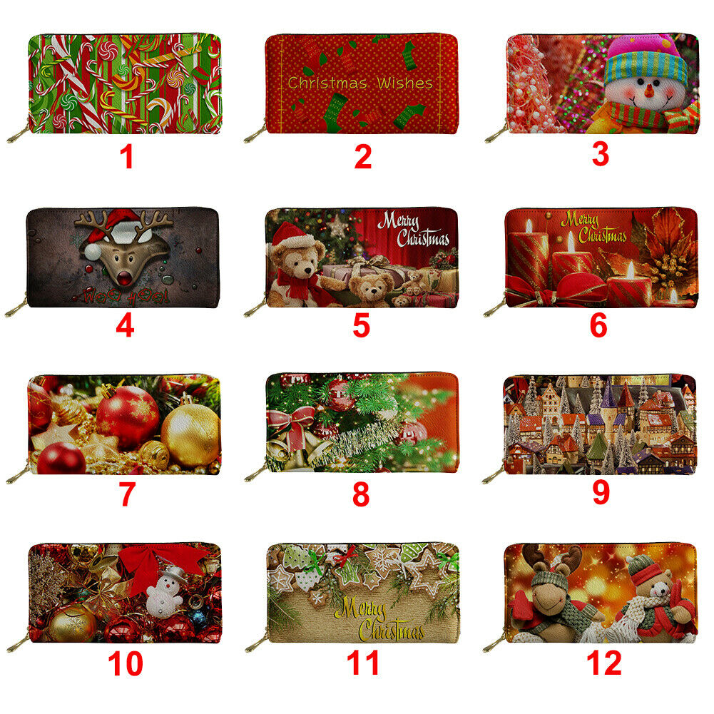Merry Christmas Women Long Wallet Fashion Leather Purse Clutch Bags Card Holder
