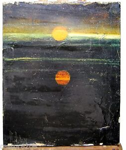 TABLEAU-FIGURATIF-COUCHER-de-SOLEIL-signe-1976-27-5x22-5-cm