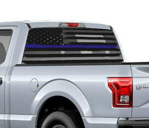 American Flag Blue Line Police Officer Leo Support Rear Window - Rear window decals for vehicles