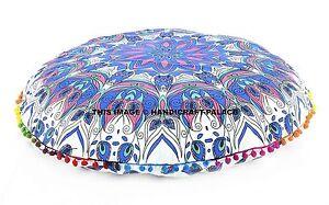 Indien Bleu Plume Mandala Imprimé 81.3cm Sol Rond Coussin Pom Dentelle Housse
