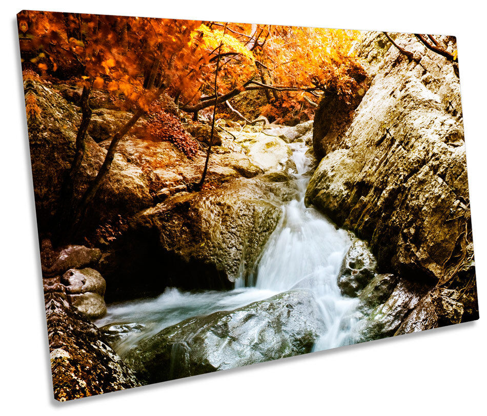 Forest Waterfall River Landscapes SINGLE CANVAS WALL ART Picture Print