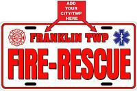 Fire-rescue White Customized License Plate