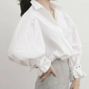 273de0e7bfdb6c Lady Puff Sleeve Shirt Cotton Button Bubble Fashion White Work Retro ...
