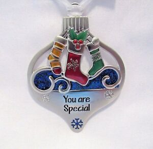 image is loading christmas ornaments polished metal enamel accents ribbon hanger