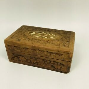 """Vintage  Small Wooden Box Jewelry Trinket Hand Carved Wood Inlay/"""" India/"""""""