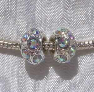 2-CHARMS-PERLES-RONDELLE-DONUTS-11x6MM-METAL-ARGENTE-STRASS-LUNAIRES-H276