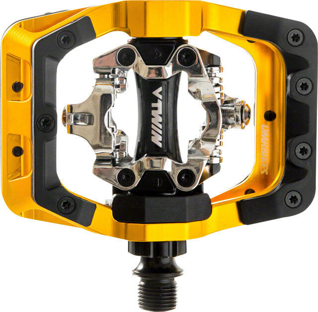 New DMR V-Twin Clipless Pedals  9 16 Alloy Outer Platform Gold