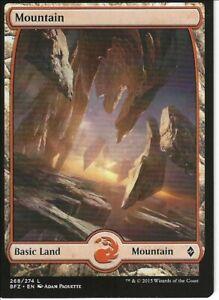 5X MOUNTAIN FULL ART basic land- Battle for Zendikar -MTG - Magic the Gathering