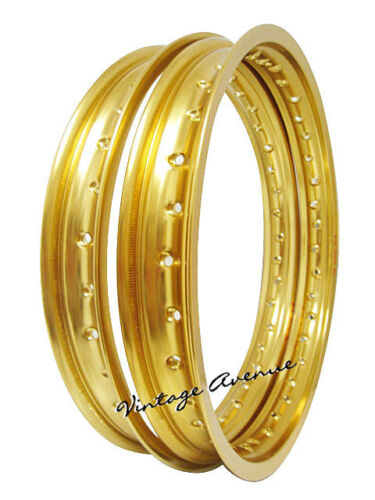 "*SUZUKI GS550 GS650 GS750 GS1000 ALUMINIUM WHEEL RIM FRONT 19/"" REAR 18/"" GOLD"