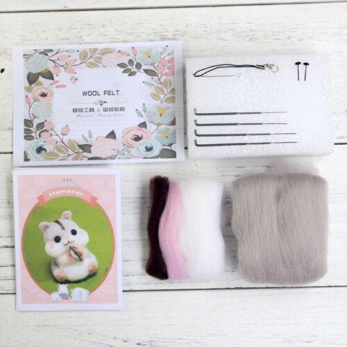 Hamster Animal Poupée Laine Feutre Craft À faire soi-même non fini a Gravé Set Handcraft Kit Sac