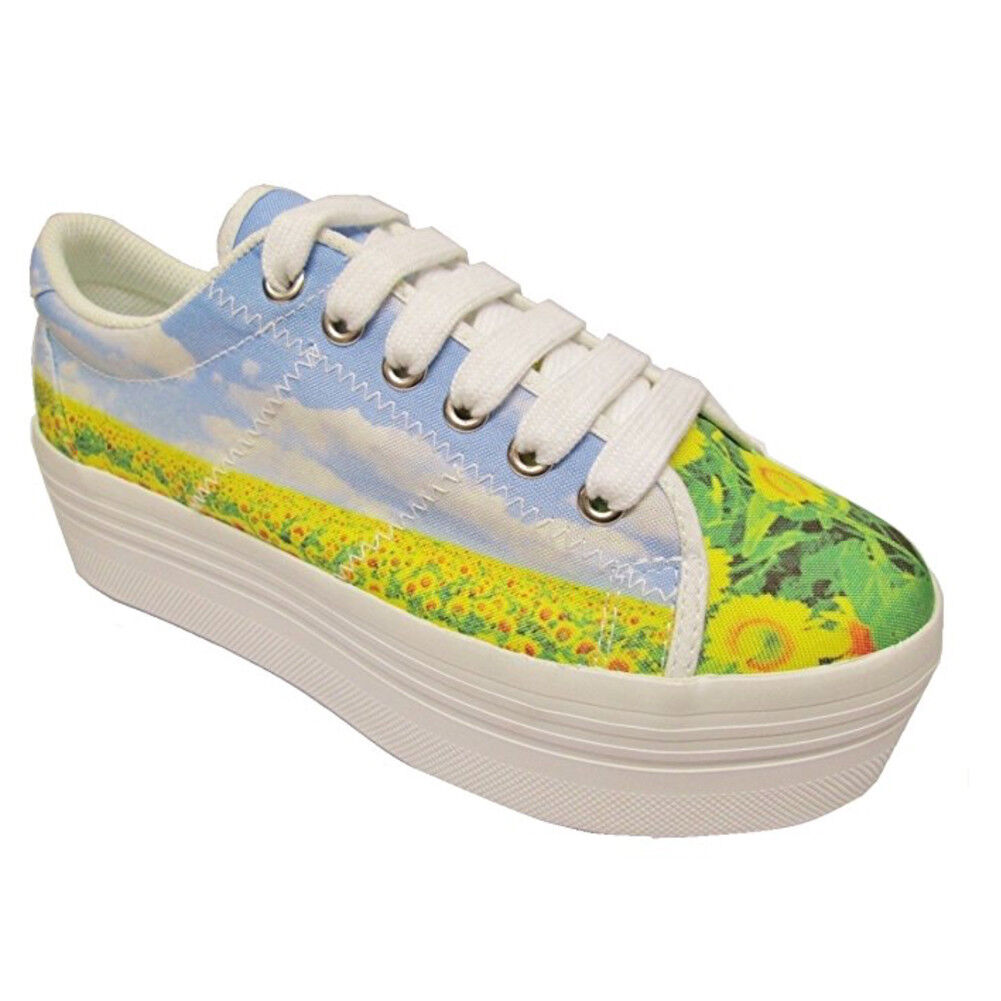 JEFFREY CAMPBELL Damenschuhe SNEAKER Schuhe WITH WEDGE CODE ZOMG POLYESTER PRINT SIZE 7