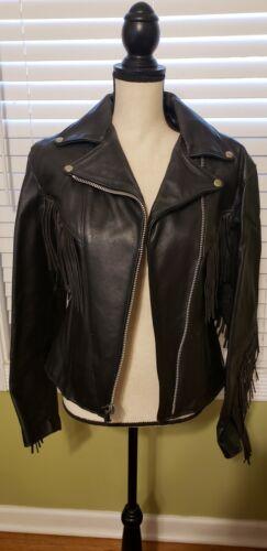 Vintage Dallas Premium Black Leather Ladies Biker