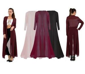 LADIES PLUS SIZE OPEN FRONT MAXI CARDIGAN LONG SLEEVE FLOATY ...