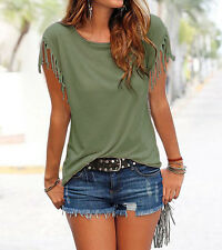 Fashion Womens Summer Loose Top Short Sleeve Tassel Blouse Casual Tops T-Shirt