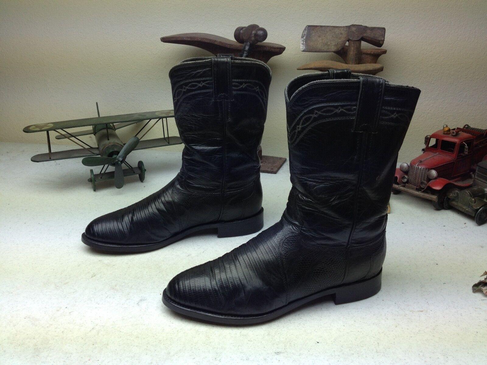 Vintage Justin Usa Lagarto Negro Cuero Western Cowboy Ingeniero botas 8.5 EE