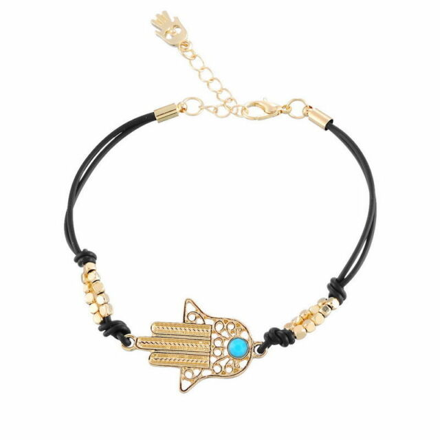 Black Colour HAMSA BRACELET . . . . . Good Luck Against Evil Eye String Kaballah