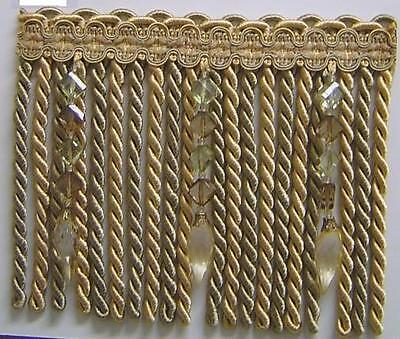 Beaded Tassel Fringe Brown Gold olive Green w//Clear light white Brown Green Bead