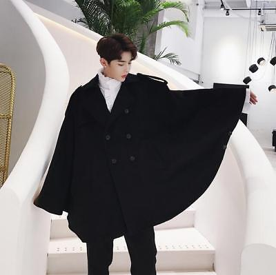 Mens Oxford Slim Wool Long Cloak Cape Coat Loose Jacket Black Punk Trench Outwea | eBay