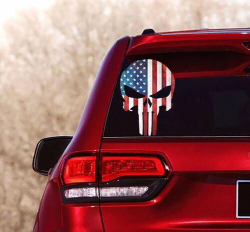 SKULL PUNISHER USA FLAG Decals Stickers Military Police Army Navy Marines/_018-1