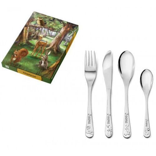 Kinderbesteck mit eingeprägten Waldtieren 4-teilig inklusive Gravur KB051