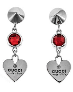 ac9b3a499cb Image is loading Gucci-Trademark-Heart-Red-Crystal-Silver-Earrings -YBD325837002-