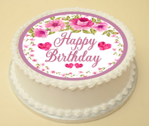 Image Is Loading FLOWER HAPPY BIRTHDAY EDIBLE CAKE Amp CUPCAKE TOPPER