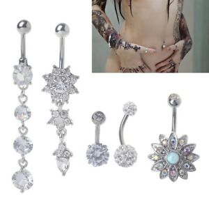 Details About 5pcs Titanium Dangle Belly Button Ring Navel Curved Barbel Cz Stone Piercing Set