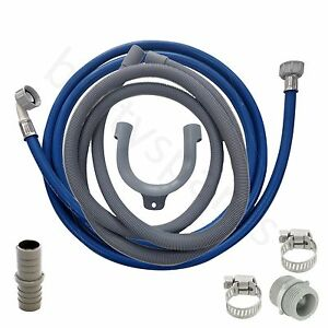 Fill Water Pipe & Outlet Drain Hose Extension 2.5m for Bosch Washing Machine Wasmachines en drogers