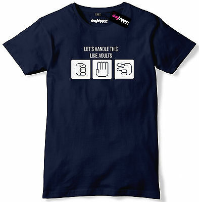 Lets Handle This Like Adults Rock Paper Scissors Mens Premium T-Shirt Slogan Tee
