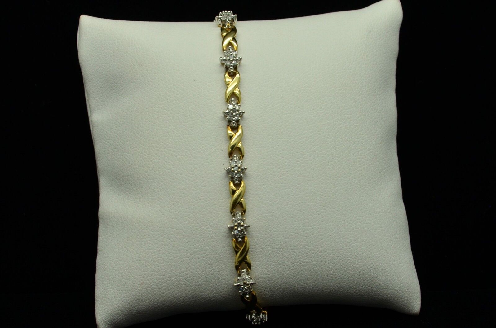 10K YELLOW gold DIAMOND FLOWER BRACELET 0.5 CTW 7   gold-674