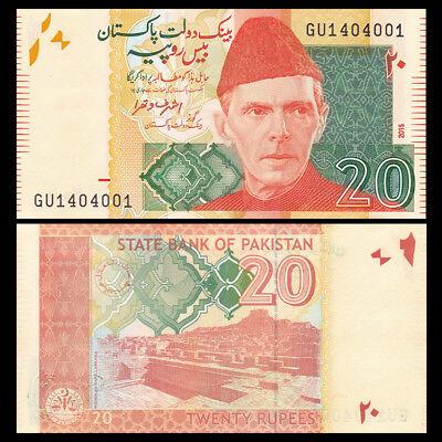 Pakistan 20 Rupees 2015 UNC Asian Banknotes LOT 5 PCS P- 55