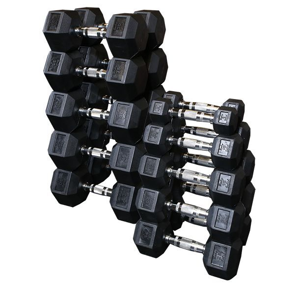 body solid 5 30 lb rubber coated hex dumbbell set 6 pair 210 lbs 5