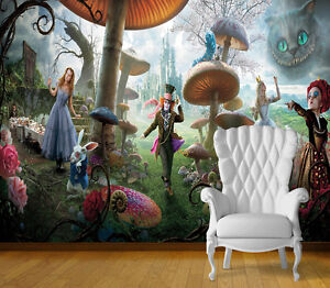 Alice in wonderland wall art wall mural self adhesive for Alice in wonderland wallpaper mural