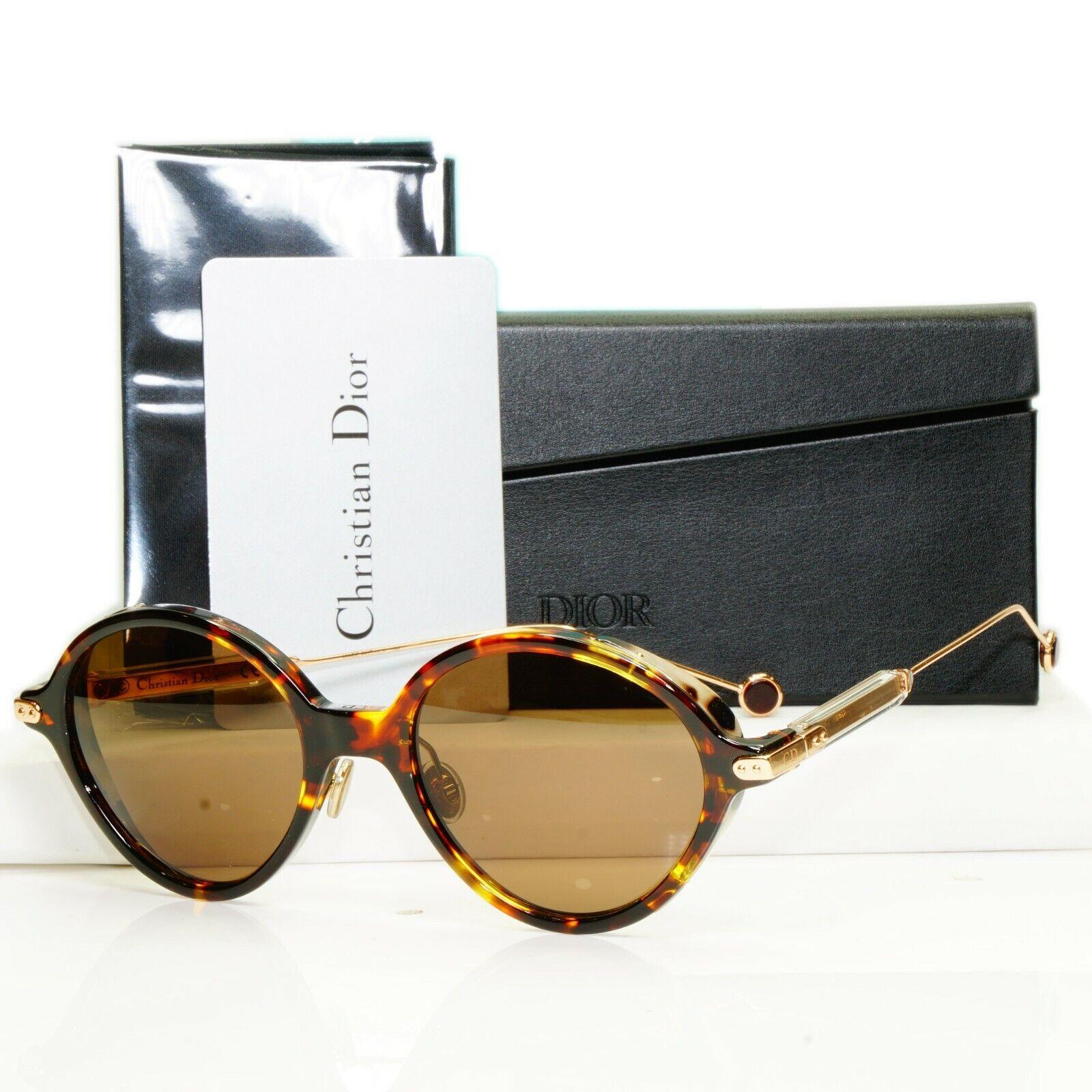 Authentic Dior Womens Sunglasses Round Umbrage Havana Brown N3 Gold 0X3TN