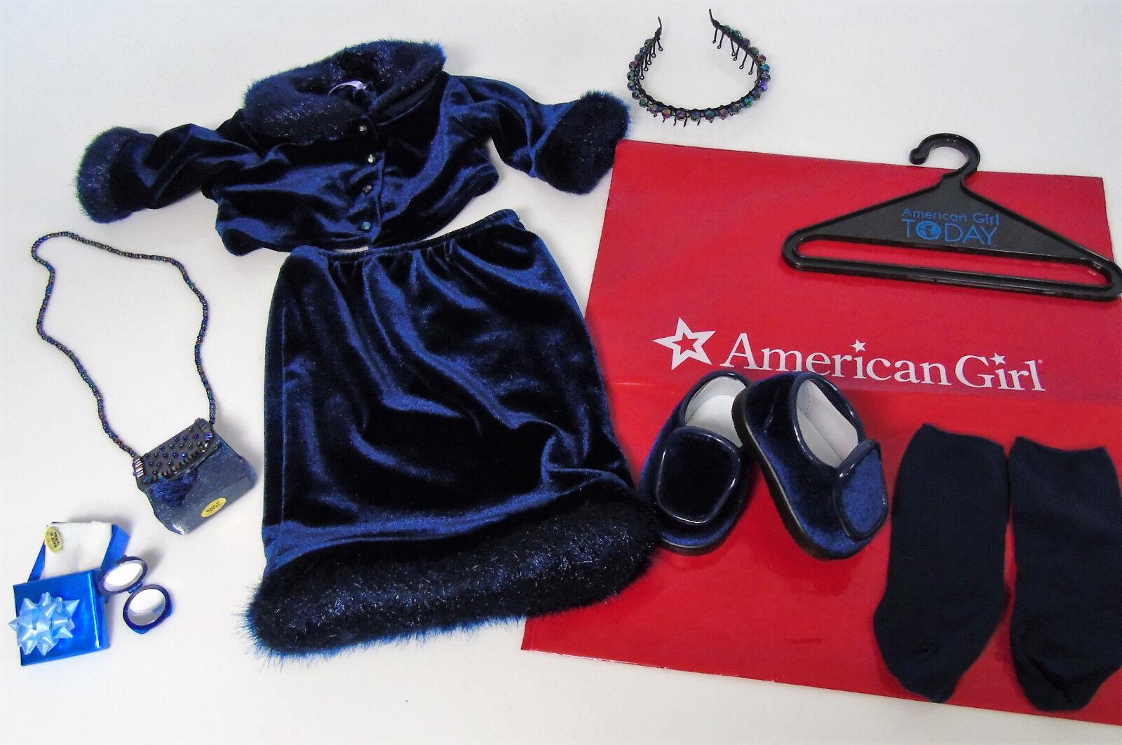 American Girl Doll Terciopelo Azul Azul Azul Vestido De Vacaciones Traje De Crepúsculo Y Accesorios Monedero  gran venta